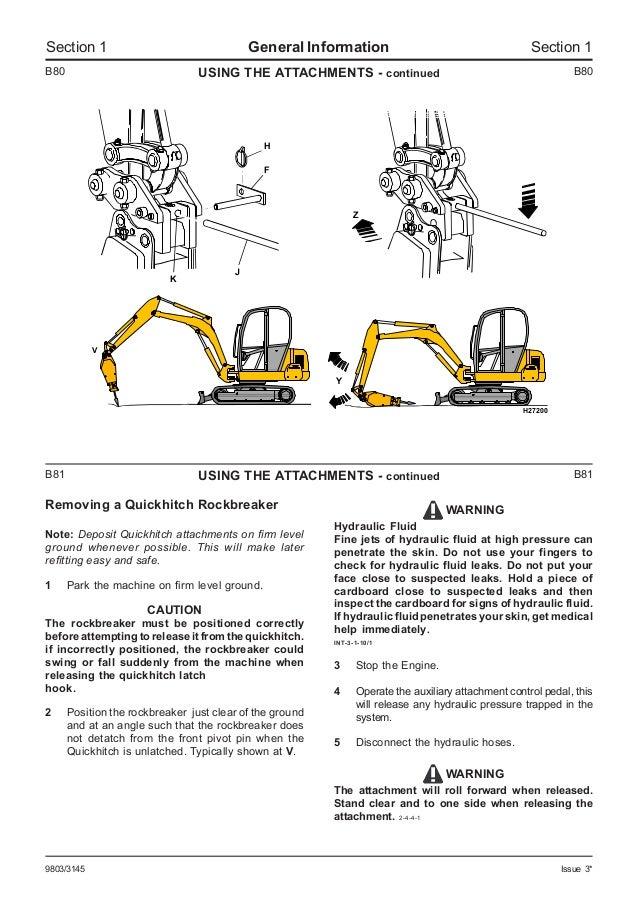 jcb 803plus mini excavator service repair manual sn 765607 onwards rh slideshare net Craftsman Garage Door Opener Manual Workshop Manuals Oilfield Well Testing