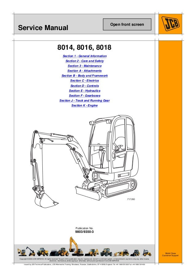 Jcb 8014 Mini Excavator Service Repair Manual Sn  1505500
