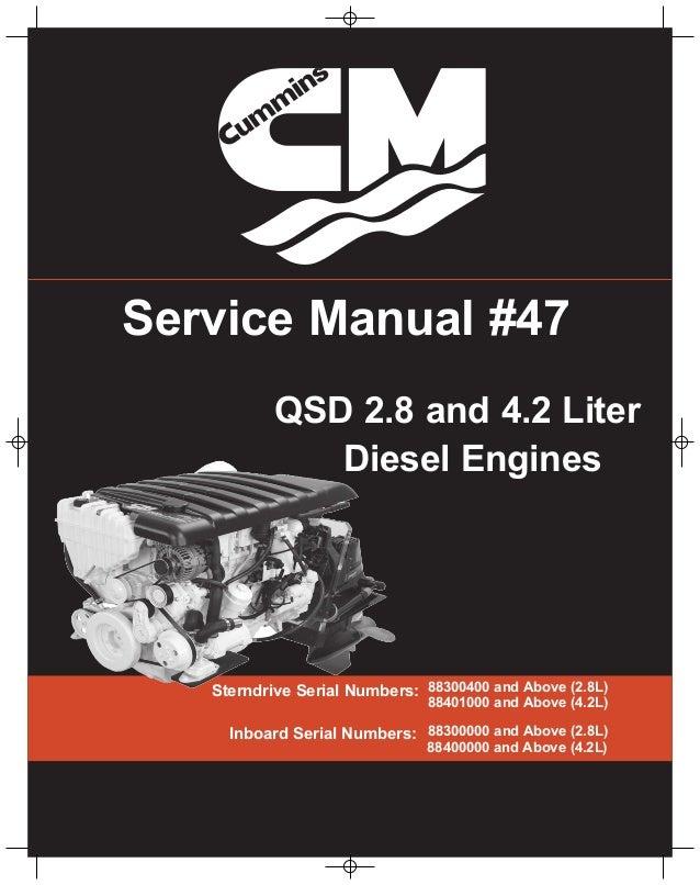 cummins mercruiser qsd 2 8 230 hp diesel engine service repair manual rh slideshare net cummins mercruiser 4.2 manual cummins mercruiser 4.2 manual