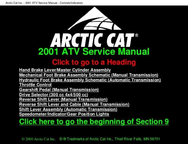 2001 Arctic Cat ATV 500 4x4 Service Repair Manual
