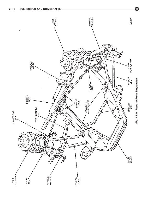 1998 Dodge Intrepid Subframe Diagram