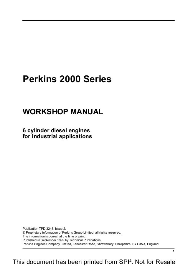 PERKINS 2000 SERIES 2006 DIESEL ENGINE Model 2006TG2A