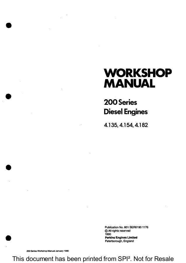 PERKINS 200 SERIES 4.154 DIESEL ENGINE Service Repair Manual