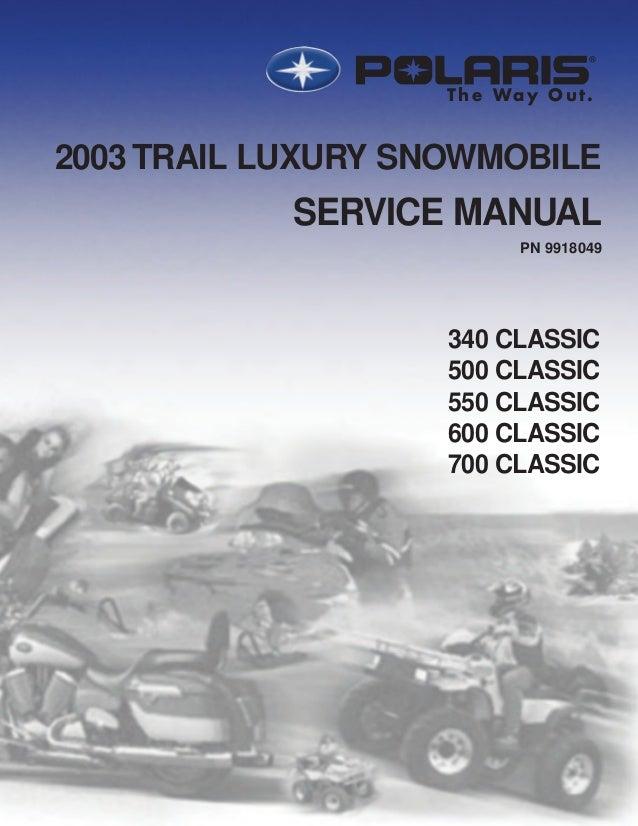 2003 Polaris 500 Classic Snowmobile Service Repair Manual