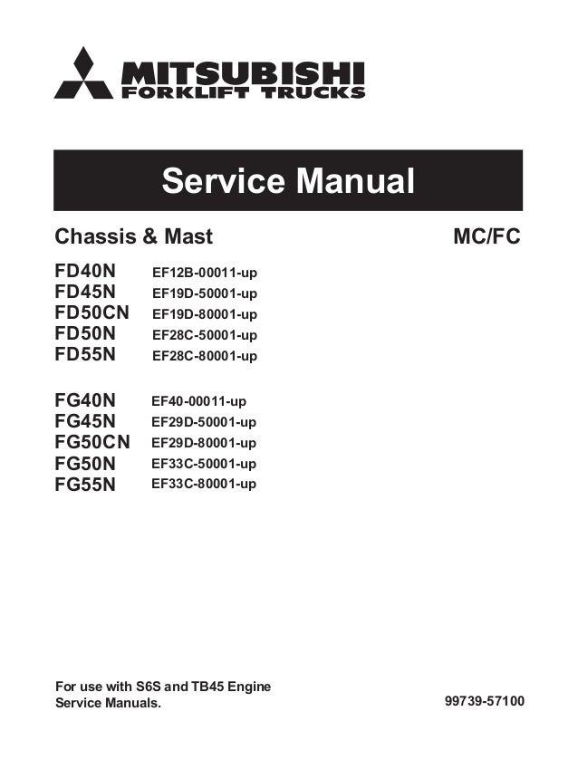 Mitsubishi Fg50cn Forklift Trucks Service Repair Manual Sn