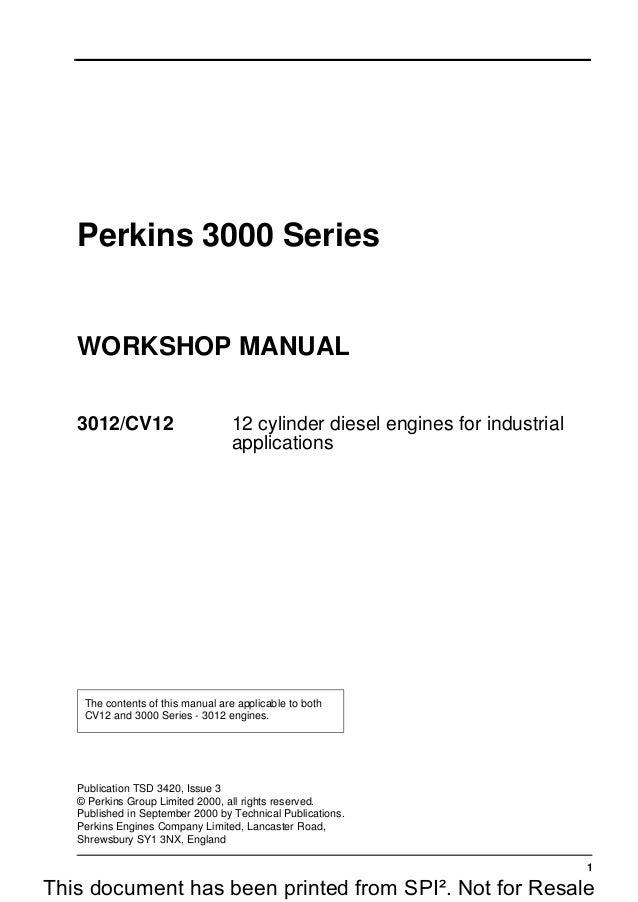 perkins 3000 series 3012 cv12 12 cylinder diesel engine service repai rh slideshare net  perkins 3012 workshop manual