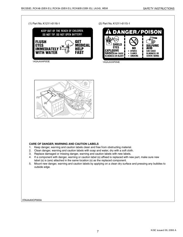 Kubota BX2350D Tractor Service Repair Manual