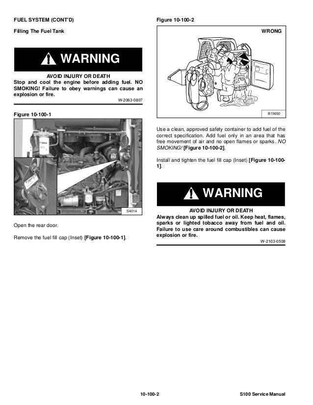 BOBCAT S100 SKID STEER LOADER Service Repair Manual S/N