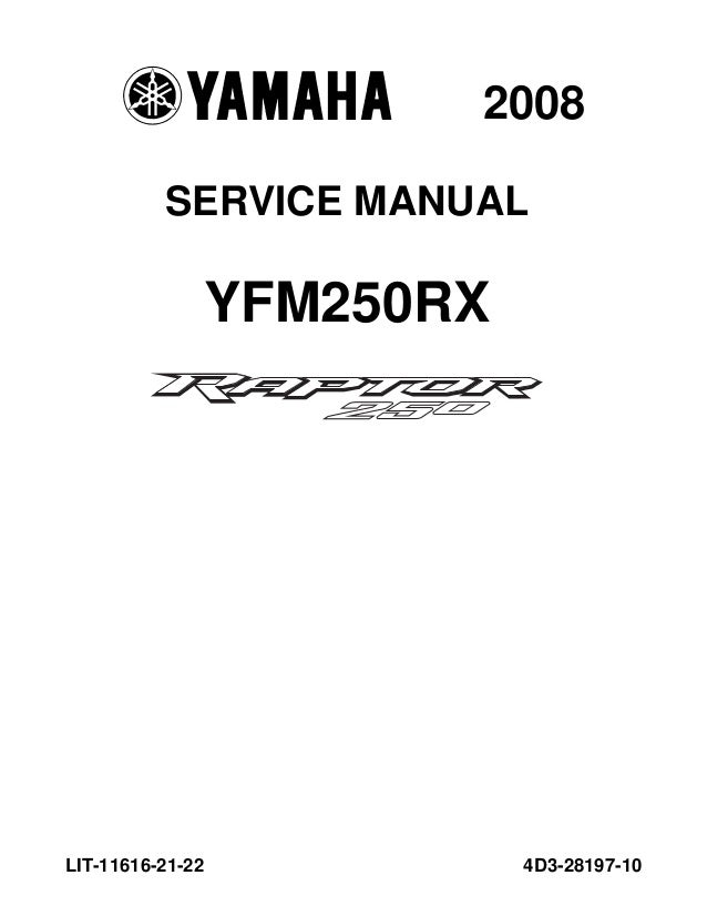 2008 Yamaha YFM250RX Raptor ATV Service Repair Manual