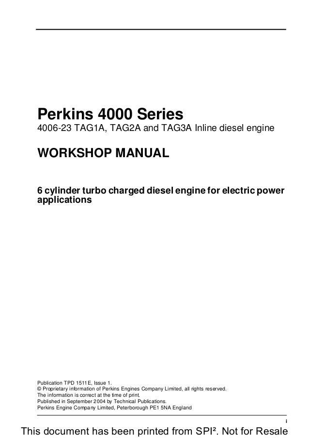 perkins 4000 series 4006 23 tag3a inline diesel engine service repair rh slideshare net Simplex 4006 S&W 4006 New in Box