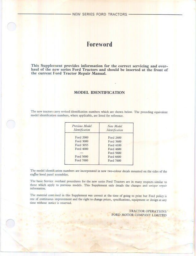 Ford 3600 Tractor Service Repair Manual