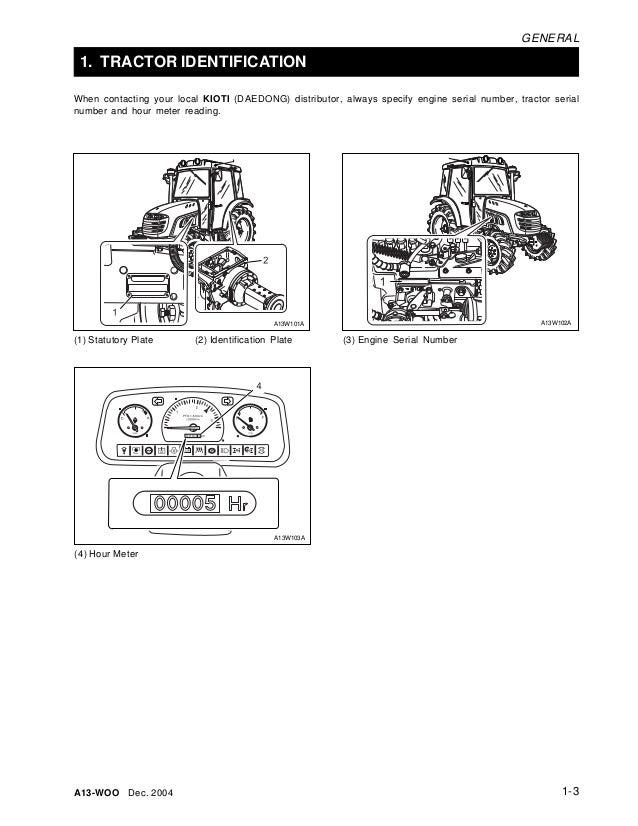 Kioti Daedong DK501 Tractor Service Repair Manual