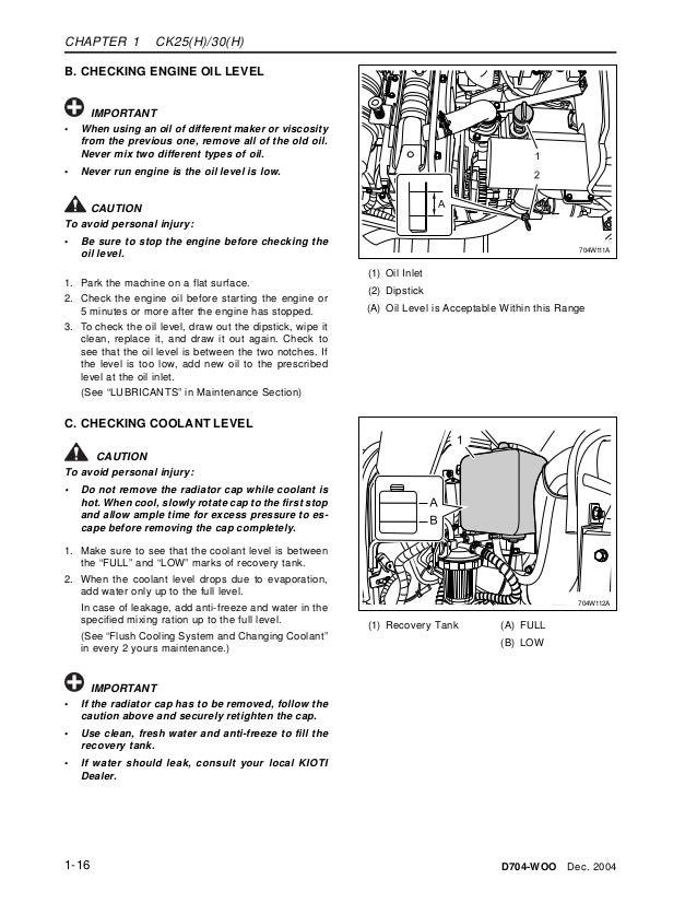 Kioti tractor manual Engine light Flashing