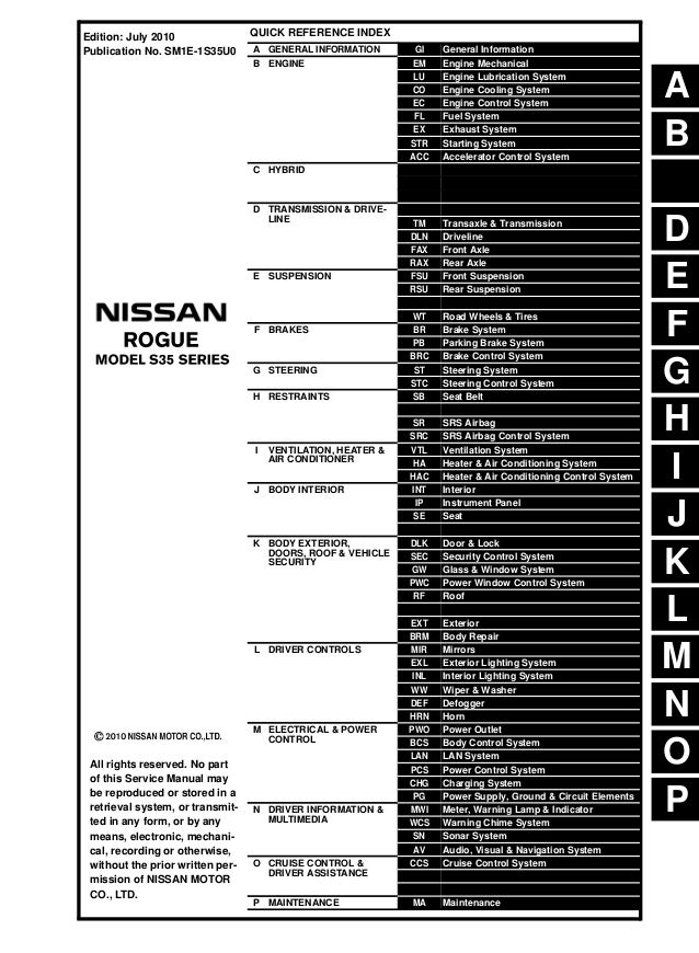 2011 Nissan Rogue Service Repair Manual