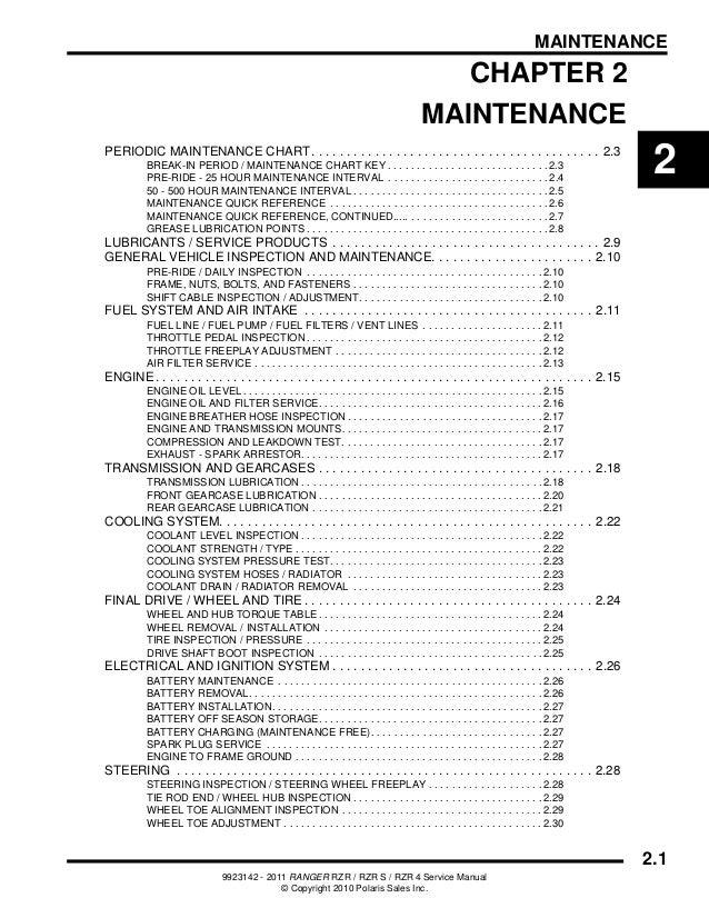 2011 Polaris RANGER RZR S EPS INTL Service Repair Manual