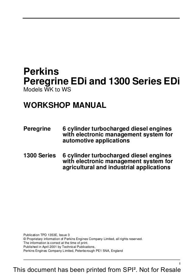 Perkins Peregrine Edi And 1300 Series Edi Wr Diesel Engine Service Re