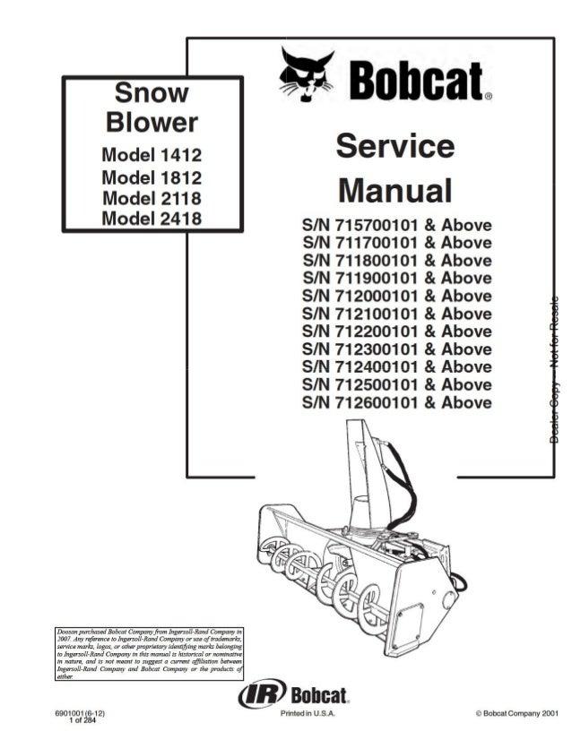 Bobcat Model 1412 1812 2118 2418 Snow Blower Service Repair Manual S/…SlideShare