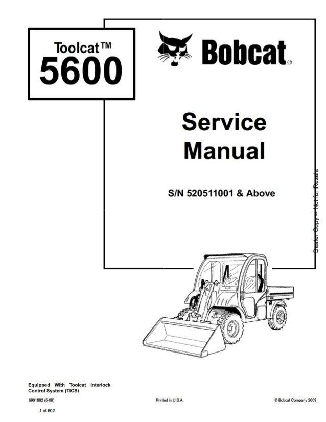 Bobcat Toolcat 5600 Utility Work Machine Service Repair