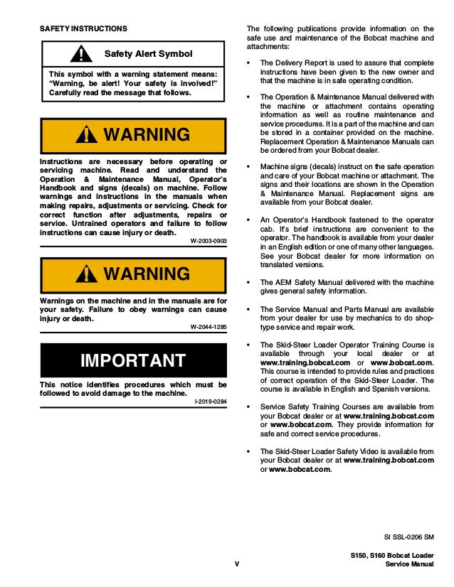 Bobcat S160 Skid Steer Loader Service Repair Manual S N 523911001 A
