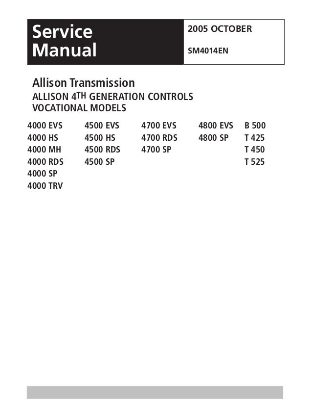 Allison Transmission 4000 Series Generation Controls