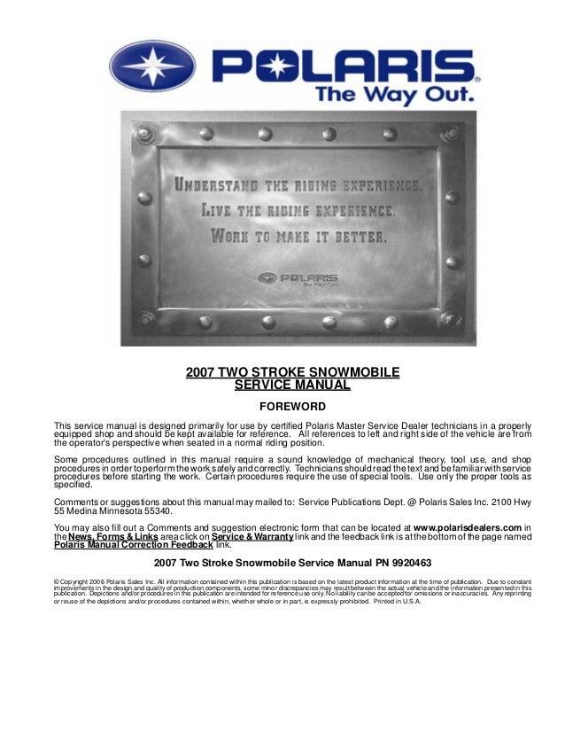 2007 Polaris Widetrak Lx Two Stroke Snowmobile Service Repair Manual