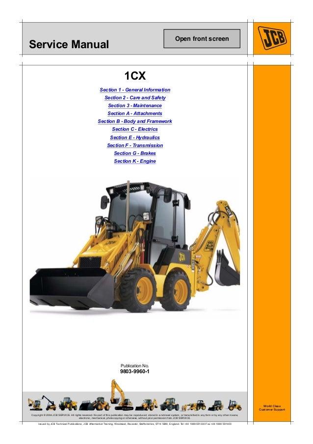 Jcb 1cx Backhoe Loader Service Repair Manual Sn Uff08751600