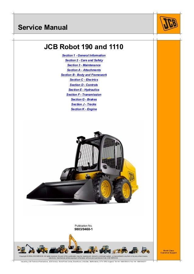 JCB 1110T, 1110THF ROBOT Service Repair Manual SN(1407000 ... on