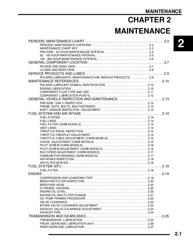 2007 Polaris Ranger 4 X 4 500 Carb Service Repair Manual