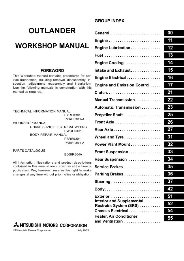2002 mitsubishi airtrek service repair manual rh slideshare net mitsubishi outlander service manual 2007 mitsubishi outlander owners manual 2007