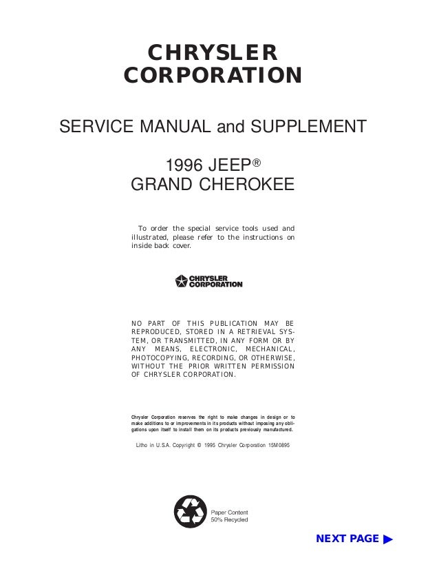 1996 jeep grand cherokee service repair manual chrysler corporation service manual and supplement 1996 jeep grand cherokee to order the special service tools publicscrutiny Gallery