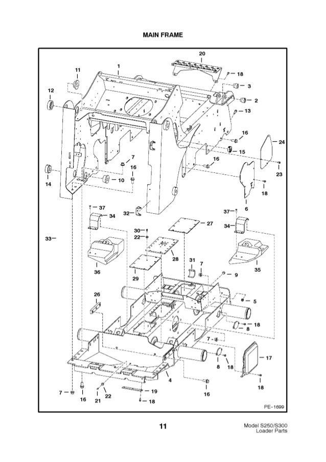 Bobcat S250 S300 Skid Steer Loader Parts Catalogue Manual