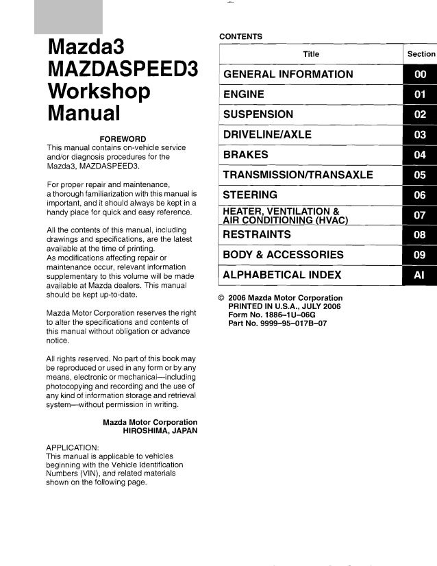 2005 mazda 3 service repair manual  slideshare