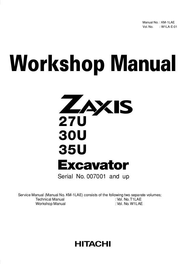HITACHI ZAXIS 27U EXCAVATOR Service Repair Manual