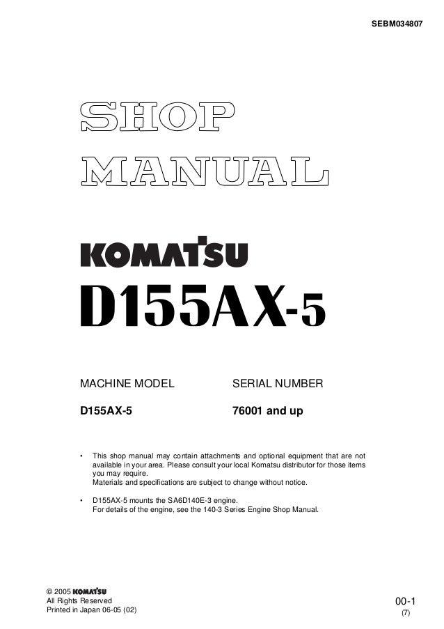 Komatsu D155ax 5 Dozer Bulldozer Service Repair Manual S N 76001 And