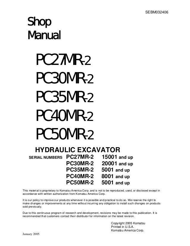 Komatsu PC30MR-2 Hydraulic Excavator Service Repair Manual SN:20001 a…