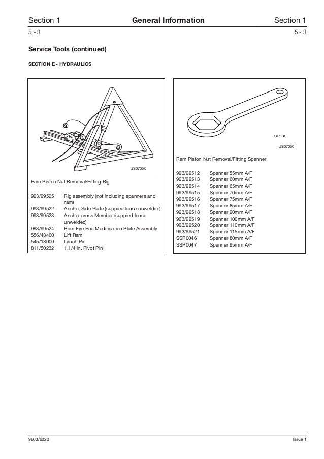 JCB JS70 Tracked Excavator Service Repair Manual SN:695501