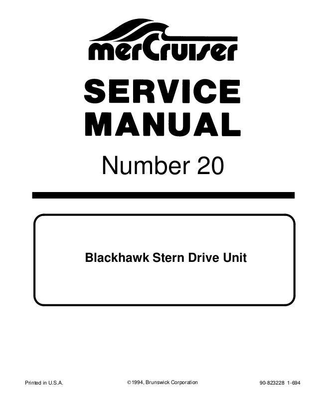 Mercury MerCruiser Blackhawk Stern Drive Unit 1994 Service
