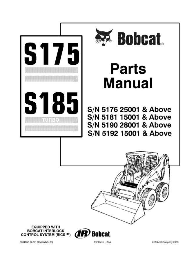 Bobcat S175 S185 Skid Steer Loader Parts Catalogue Manual