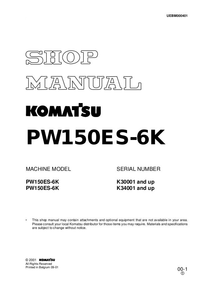 komatsu pw150es 6k hydraulic excavator service repair workshop manual download sn k30001 and up k34001 and up