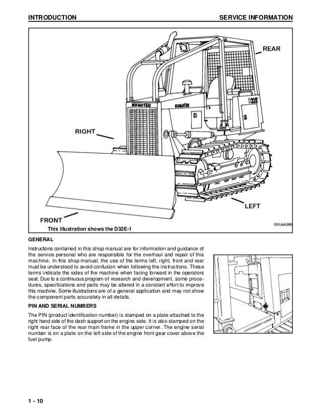 Komatsu D32E-1 Dozer Bulldozer Service Repair Manual S/N