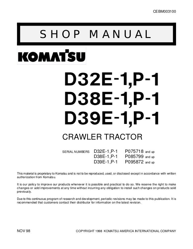 komatsu d38p-1 dozer bulldozer service repair manual s/n p085799 and up