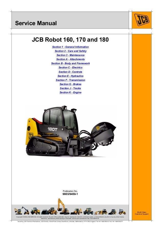 jcb 180t 180thf robot service repair manual sn 1803000 to 1806999 rh slideshare net JCB Robot Skid Steer JCB Savannah