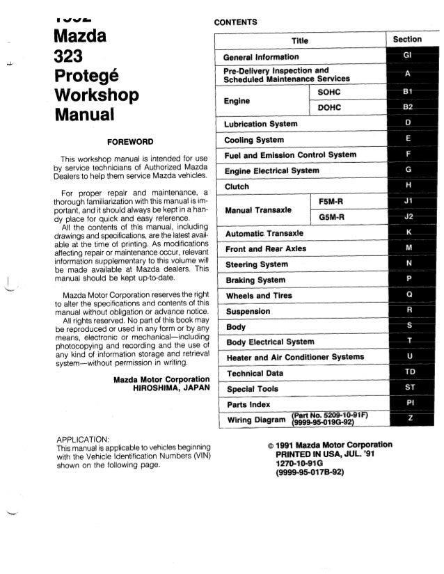 1991 Mazda 323 Protege Bg Service Repair Manual