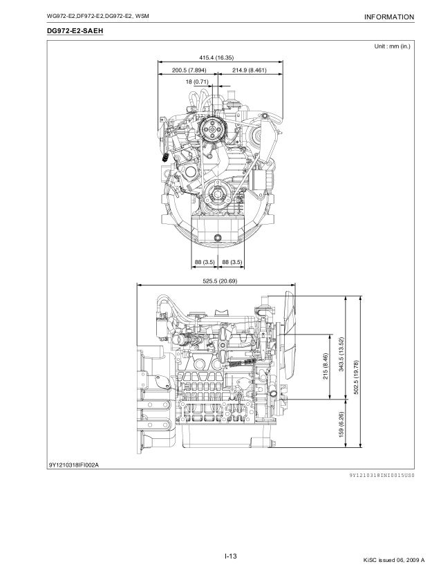 Kubota Dg972 E2 Saeh Natural Gas Engine Service Repair Manual