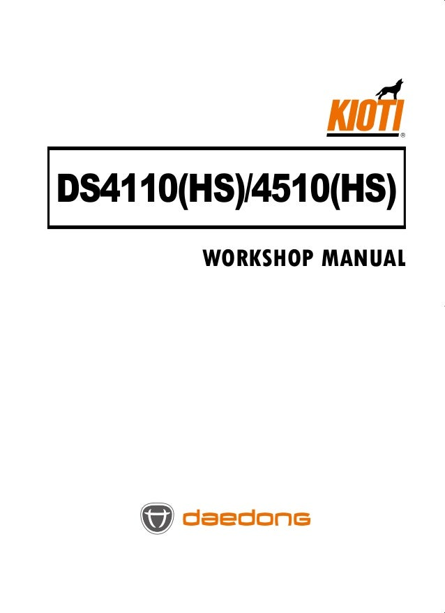 Kioti Daedong Ds4510 Tractor Service Repair Manual