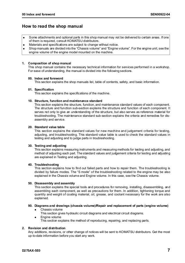 Komatsu D275AX-5E0 Dozer Bulldozer Service Repair Manual S/N