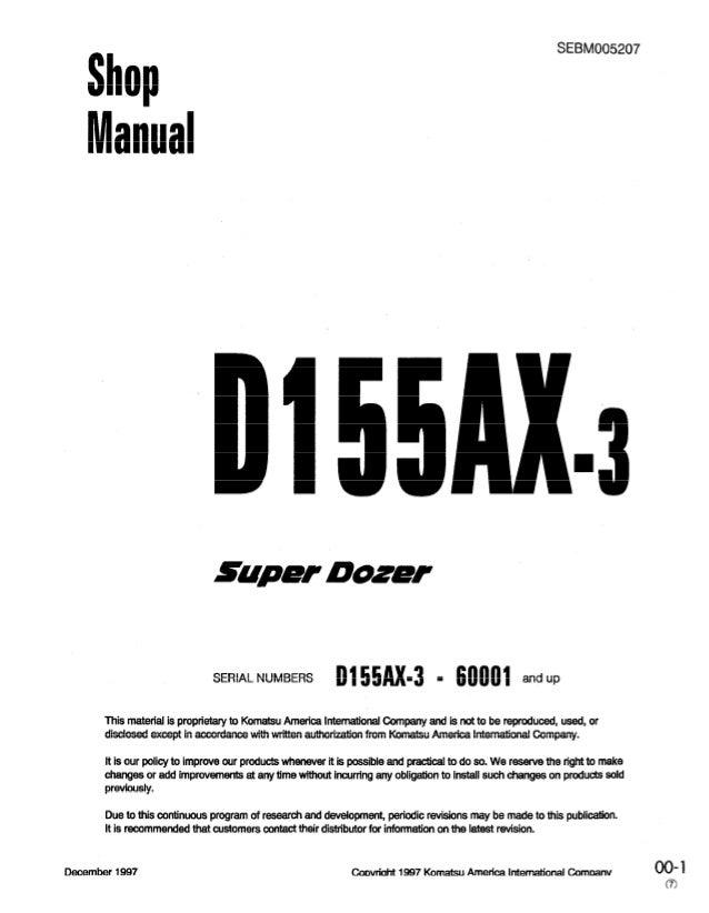 Komatsu D155ax 3 Super Dozer Bulldozer Service Repair Manual S N 6000