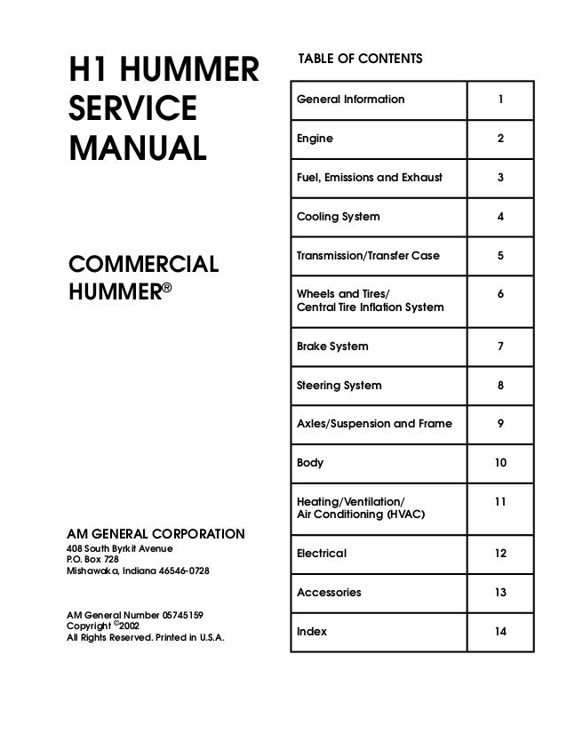 H1 Hummer Service Manual Commercial Hummer� Am General Corporation 408 South Byrkit Avenue Po Box: Am General Hummer Wiring Diagram At Shintaries.co