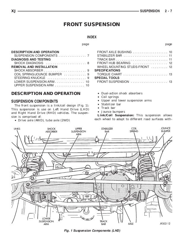 xj specifications (continued)