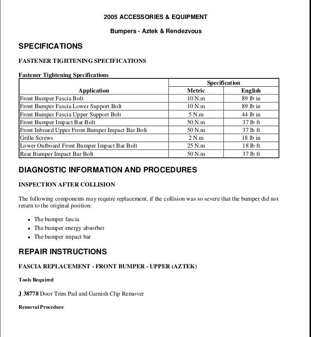 2003 pontiac aztek service repair manual rh slideshare net 2003 Pontiac Bonneville Parts Catalog Aztec Car